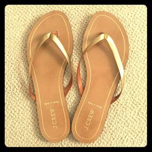 JCrew Gold metallic, leather sandals NEW size 9